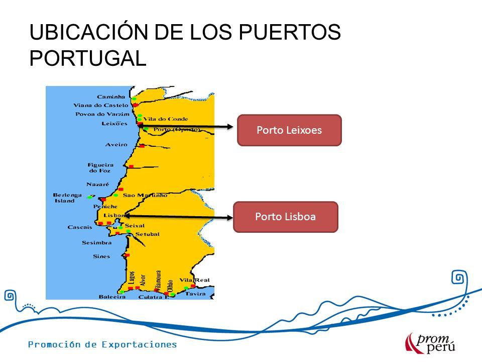 Promoción de Exportaciones UBICACIÓN DE LOS PUERTOS PORTUGAL Porto Leixoes Porto Lisboa