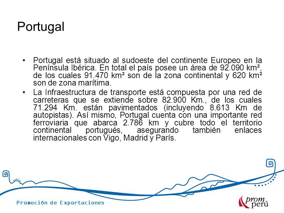 Promoción de Exportaciones Portugal Portugal está situado al sudoeste del continente Europeo en la Península Ibérica. En total el país posee un área d
