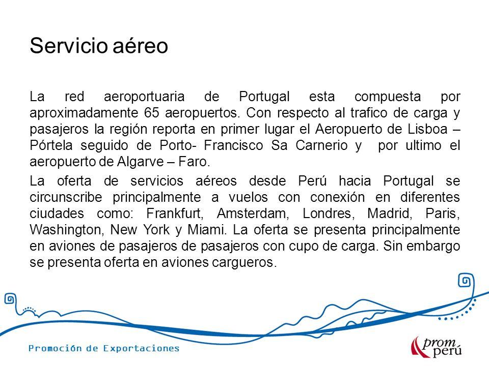 Servicio aéreo La red aeroportuaria de Portugal esta compuesta por aproximadamente 65 aeropuertos. Con respecto al trafico de carga y pasajeros la reg