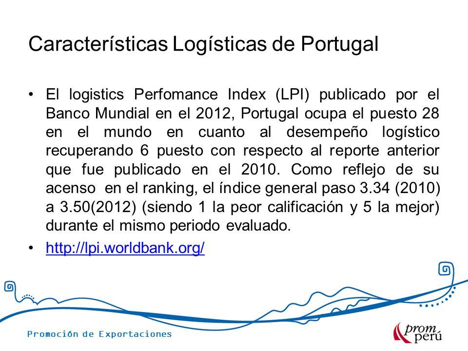 Promoción de Exportaciones INDICADORES LOGISTICOS DE PORTUGAL (LPI)2012 IndicadoresPuntajePuesto La eficiencia aduanera3.1931 La calidad de infraestructura3.4229 La competitividad de transporte internacional de carga 3.4325 La competencia y calidad en los servicios logísticos 3.4827 La puntualidad en el transporte de carga 3.8826 Fuente: World Bank