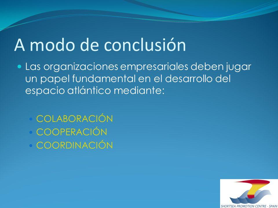 A modo de conclusión Las organizaciones empresariales deben jugar un papel fundamental en el desarrollo del espacio atlántico mediante: COLABORACIÓN C
