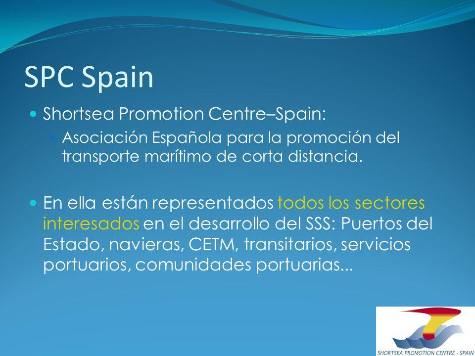 SPC Spain Shortsea Promotion Centre–Spain: Asociación Española para la promoción del transporte marítimo de corta distancia. En ella están representad