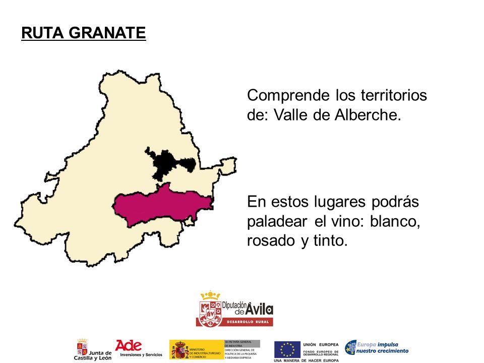 RUTA GRANATE Comprende los territorios de: Valle de Alberche. En estos lugares podrás paladear el vino: blanco, rosado y tinto.