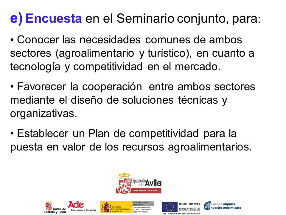 e) Encuesta en el Seminario conjunto, para : Conocer las necesidades comunes de ambos sectores (agroalimentario y turístico), en cuanto a tecnología y