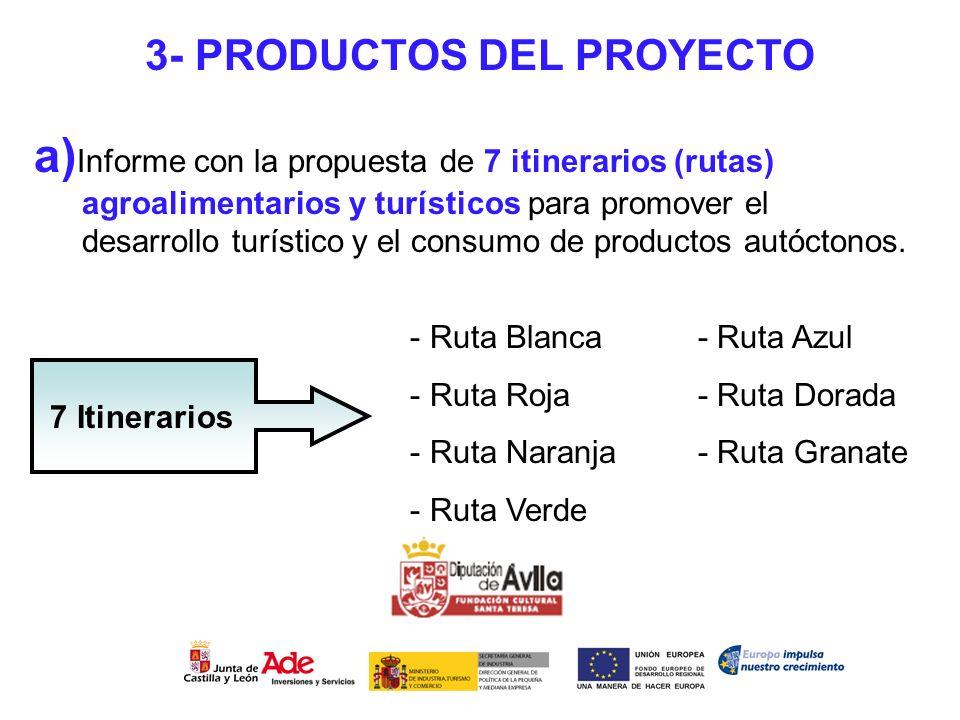 3- PRODUCTOS DEL PROYECTO a) Informe con la propuesta de 7 itinerarios (rutas) agroalimentarios y turísticos para promover el desarrollo turístico y e