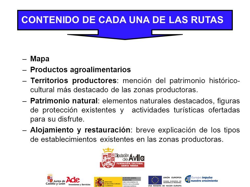 CONTENIDO DE CADA UNA DE LAS RUTAS –Mapa –Productos agroalimentarios –Territorios productores: mención del patrimonio histórico- cultural más destacad
