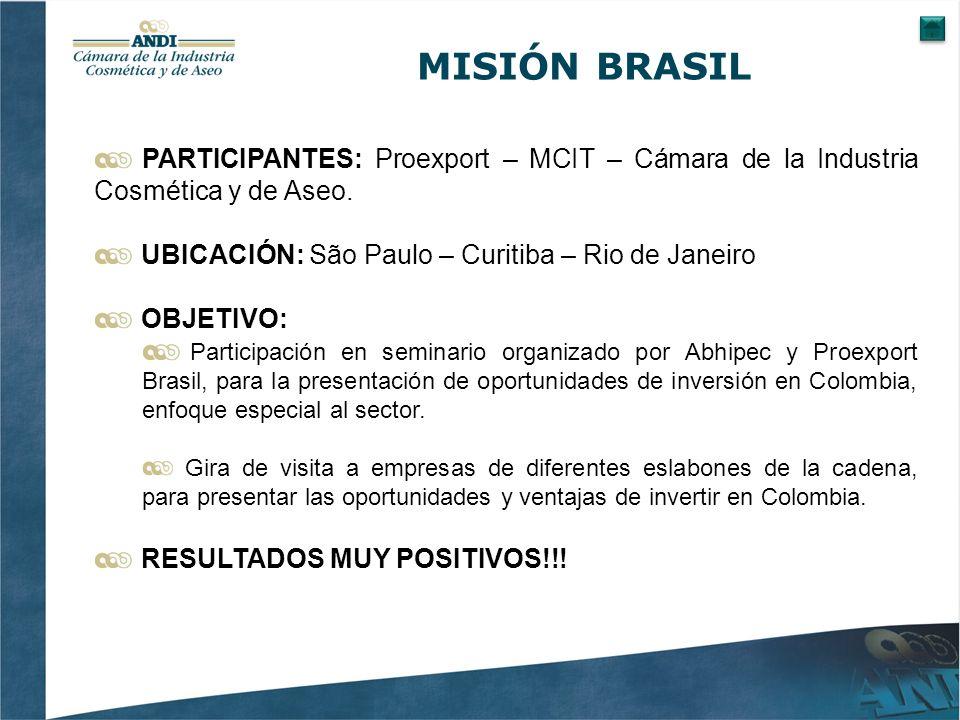 MISIÓN BRASIL PARTICIPANTES: Proexport – MCIT – Cámara de la Industria Cosmética y de Aseo.