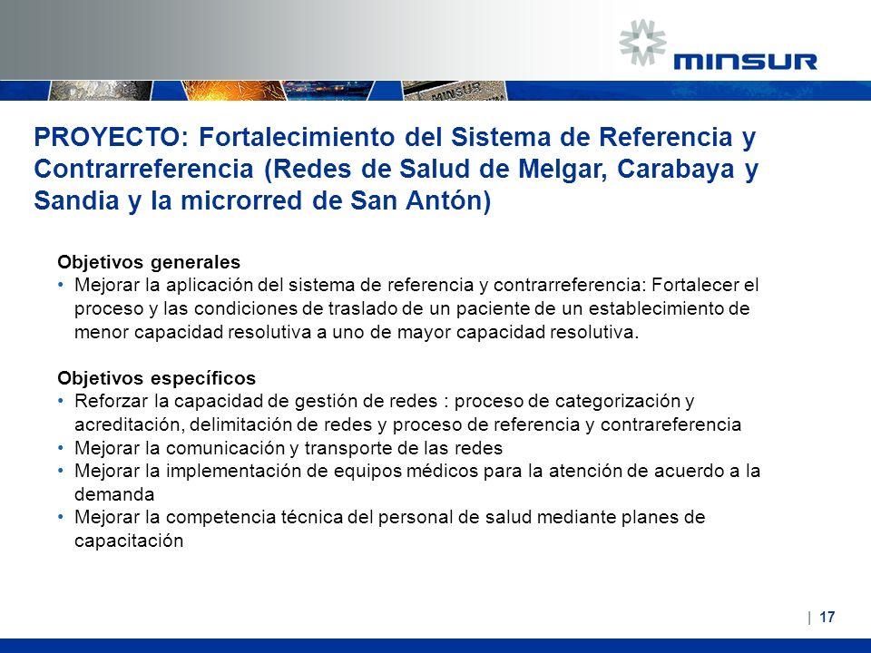 PROYECTO: Fortalecimiento del Sistema de Referencia y Contrarreferencia (Redes de Salud de Melgar, Carabaya y Sandia y la microrred de San Antón) Obje