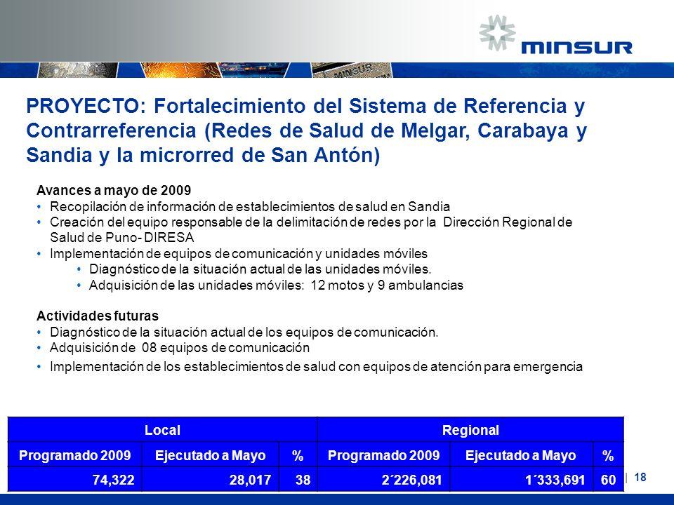 Avances a mayo de 2009 Recopilación de información de establecimientos de salud en Sandia Creación del equipo responsable de la delimitación de redes