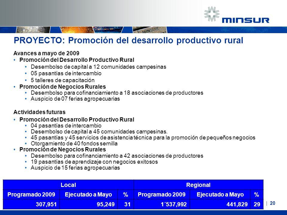 PROYECTO: Promoción del desarrollo productivo rural Avances a mayo de 2009 Promoción del Desarrollo Productivo Rural Desembolso de capital a 12 comuni