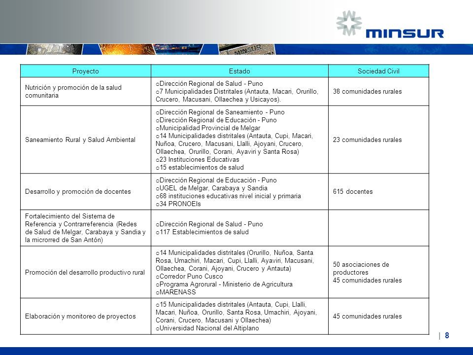   8  8 ProyectoEstadoSociedad Civil Nutrición y promoción de la salud comunitaria o Dirección Regional de Salud - Puno o 7 Municipalidades Distritales
