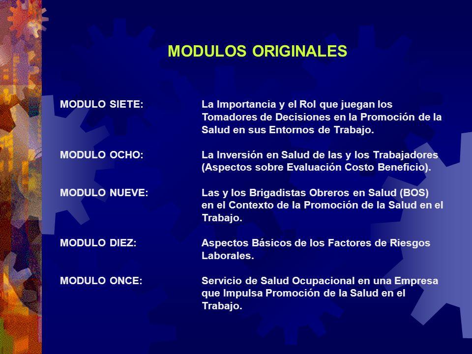 MODULOS ORIGINALES MODULO SIETE:La Importancia y el Rol que juegan los Tomadores de Decisiones en la Promoción de la Salud en sus Entornos de Trabajo.
