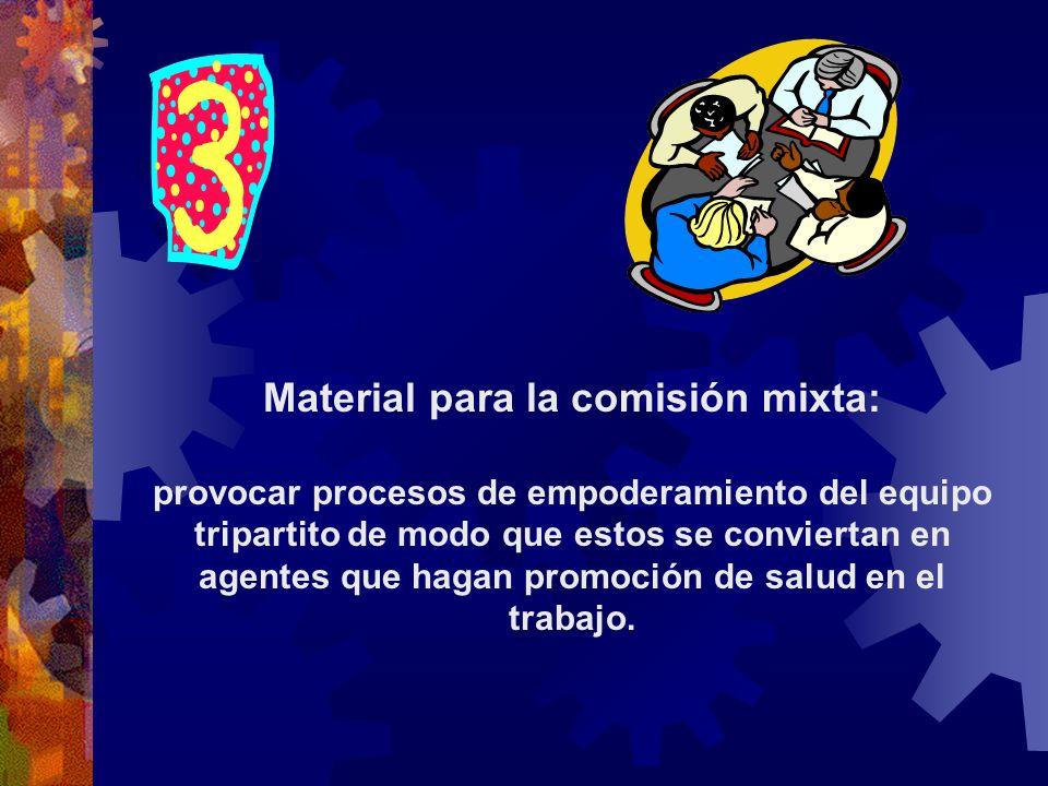 Material para la comisión mixta: provocar procesos de empoderamiento del equipo tripartito de modo que estos se conviertan en agentes que hagan promoción de salud en el trabajo.