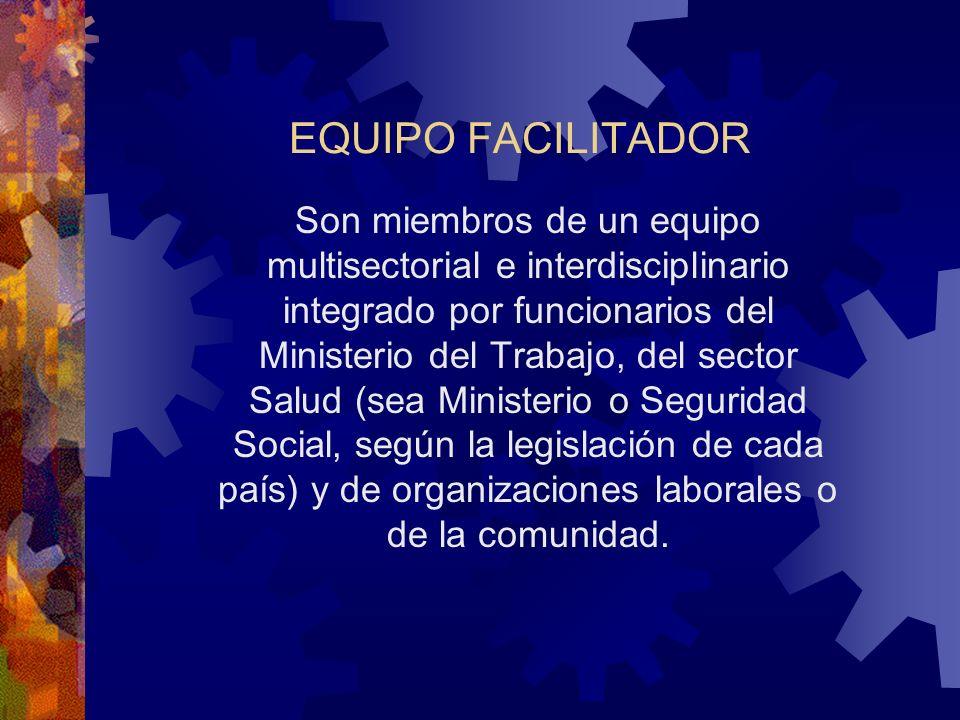 EQUIPO FACILITADOR Son miembros de un equipo multisectorial e interdisciplinario integrado por funcionarios del Ministerio del Trabajo, del sector Salud (sea Ministerio o Seguridad Social, según la legislación de cada país) y de organizaciones laborales o de la comunidad.