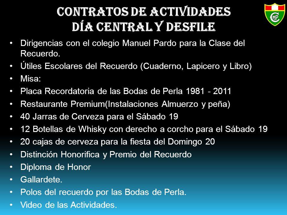 Contratos de actividades Día Central y Desfile Dirigencias con el colegio Manuel Pardo para la Clase del Recuerdo.