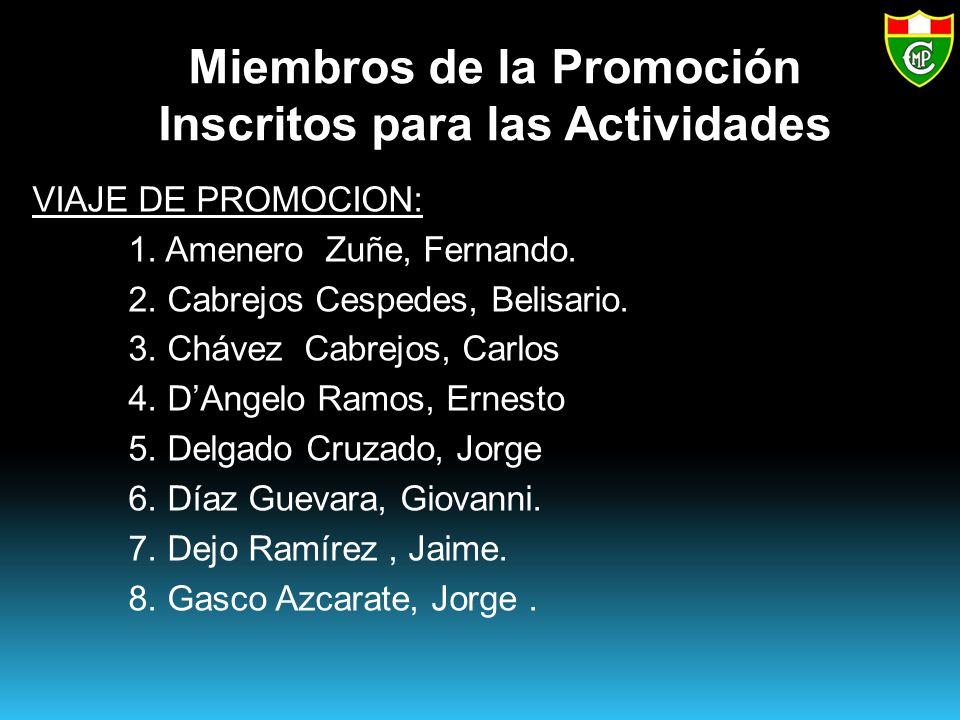 Miembros de la Promoción Inscritos para las Actividades VIAJE DE PROMOCION: 1.