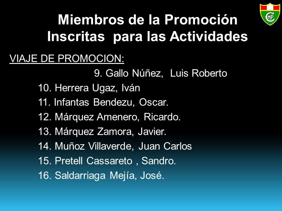 Miembros de la Promoción Inscritas para las Actividades VIAJE DE PROMOCION: 9.