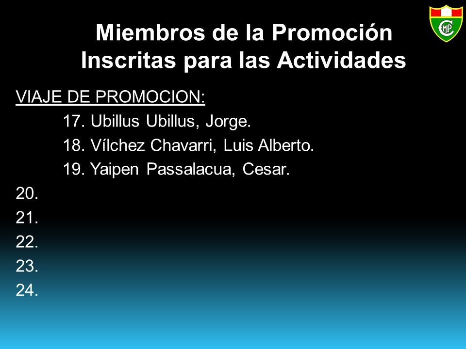 Miembros de la Promoción Inscritas para las Actividades VIAJE DE PROMOCION: 17.