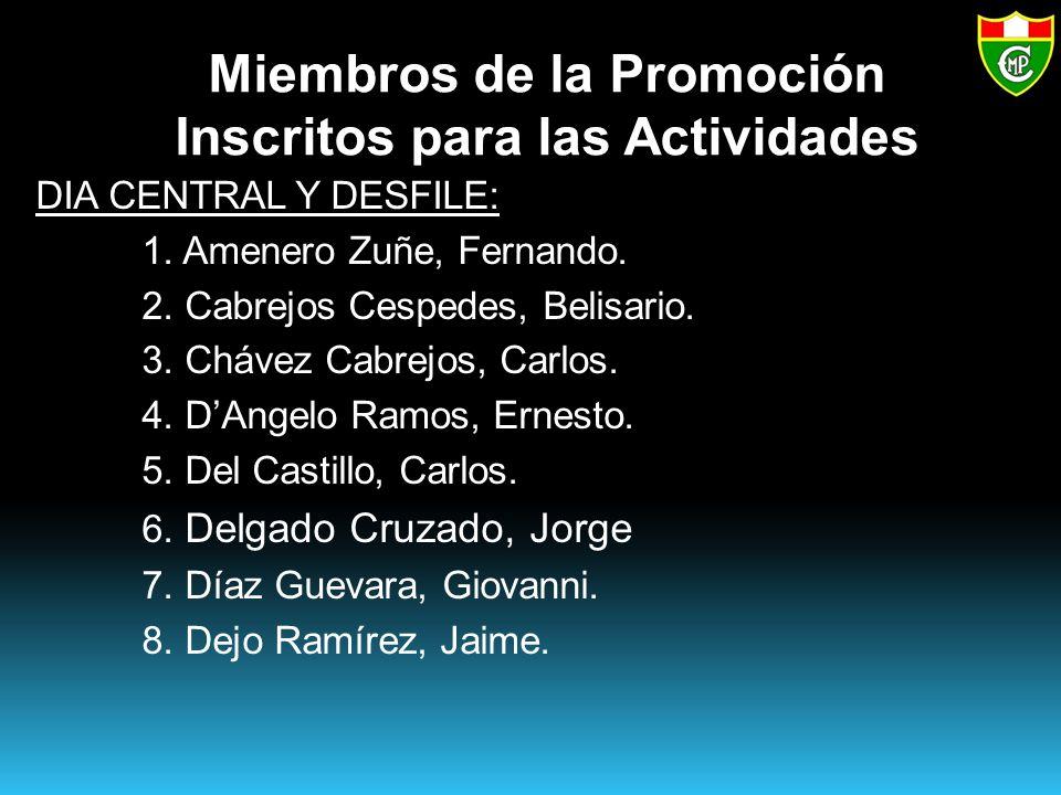 Miembros de la Promoción Inscritos para las Actividades DIA CENTRAL Y DESFILE: 1.