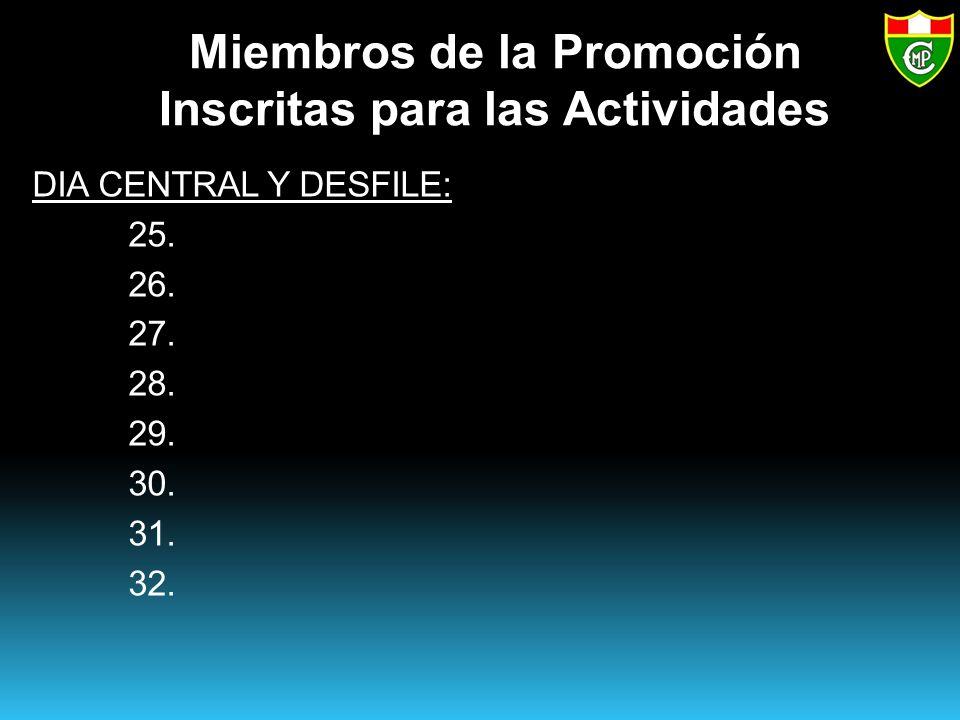 Miembros de la Promoción Inscritas para las Actividades DIA CENTRAL Y DESFILE: 25.