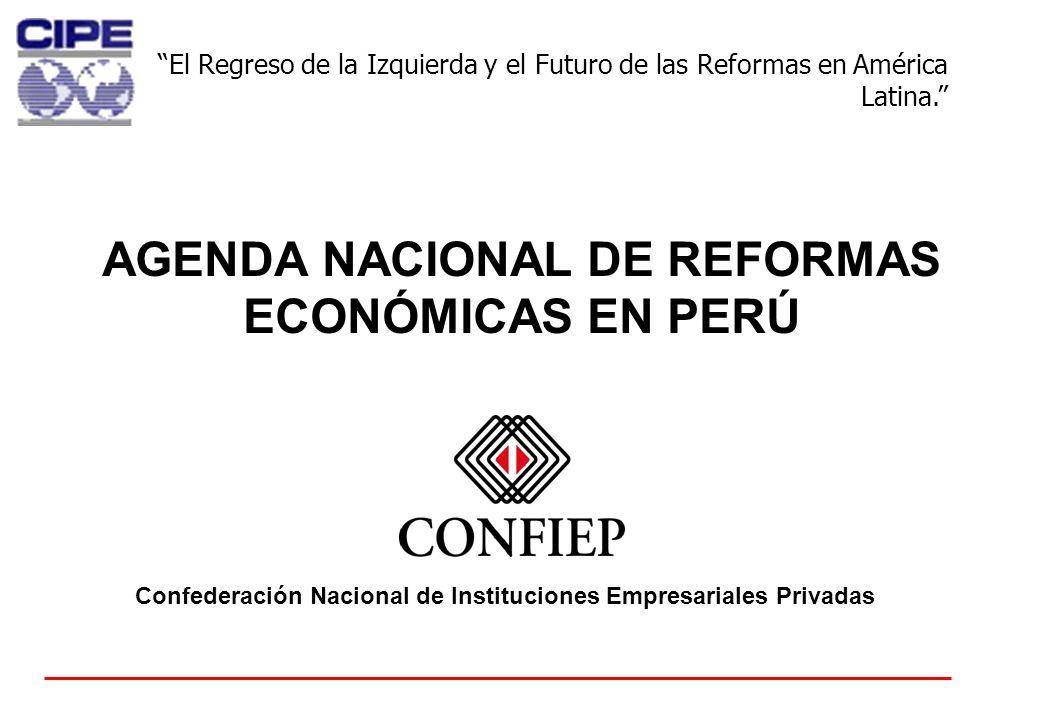 0 AGENDA NACIONAL DE REFORMAS ECONÓMICAS EN PERÚ Confederación Nacional de Instituciones Empresariales Privadas El Regreso de la Izquierda y el Futuro