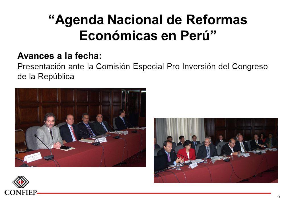 9 Agenda Nacional de Reformas Económicas en Perú Avances a la fecha: Presentación ante la Comisión Especial Pro Inversión del Congreso de la República