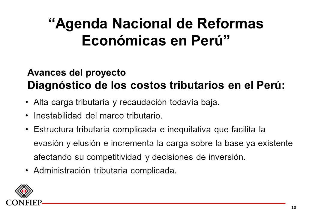 10 Agenda Nacional de Reformas Económicas en Perú Avances del proyecto Diagnóstico de los costos tributarios en el Perú: Alta carga tributaria y recau