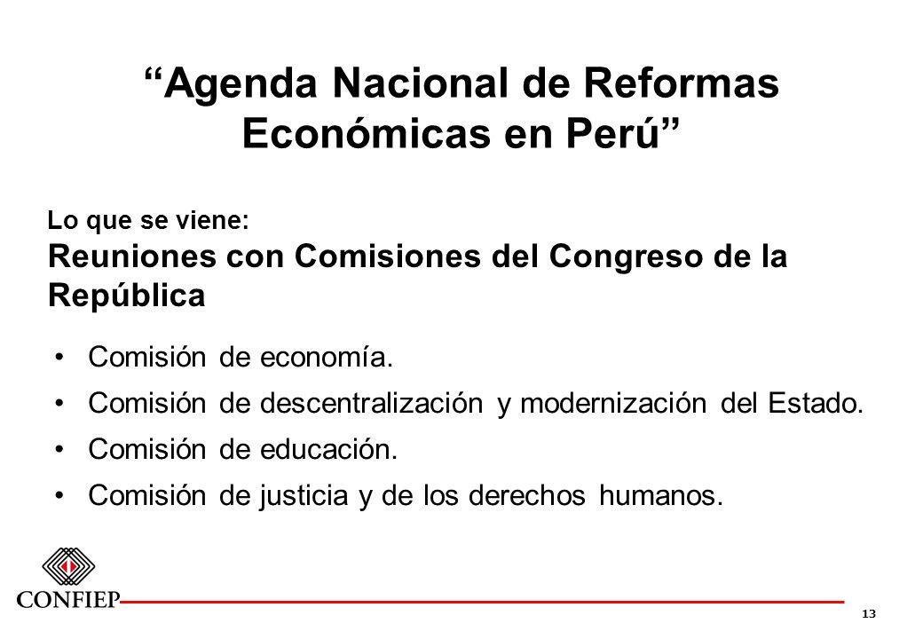 13 Agenda Nacional de Reformas Económicas en Perú Lo que se viene: Reuniones con Comisiones del Congreso de la República Comisión de economía. Comisió