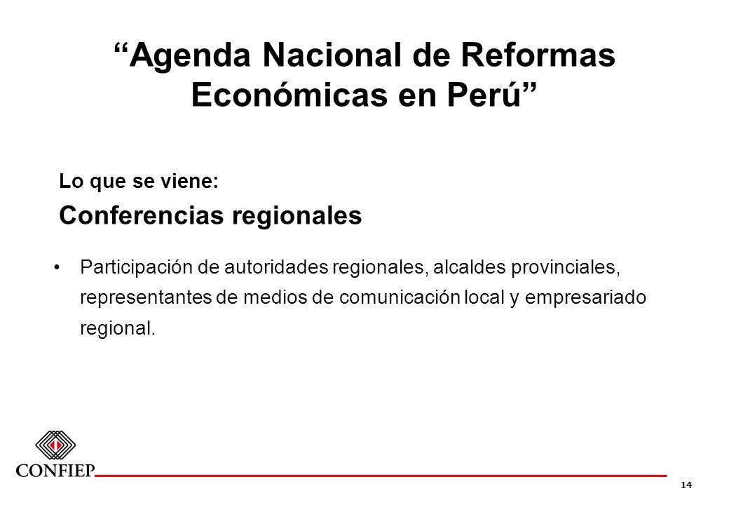 14 Agenda Nacional de Reformas Económicas en Perú Lo que se viene: Conferencias regionales Participación de autoridades regionales, alcaldes provincia