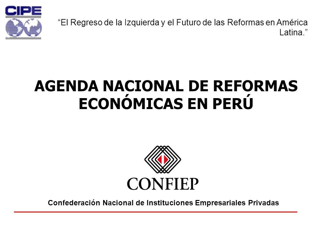 15 AGENDA NACIONAL DE REFORMAS ECONÓMICAS EN PERÚ Confederación Nacional de Instituciones Empresariales Privadas El Regreso de la Izquierda y el Futur