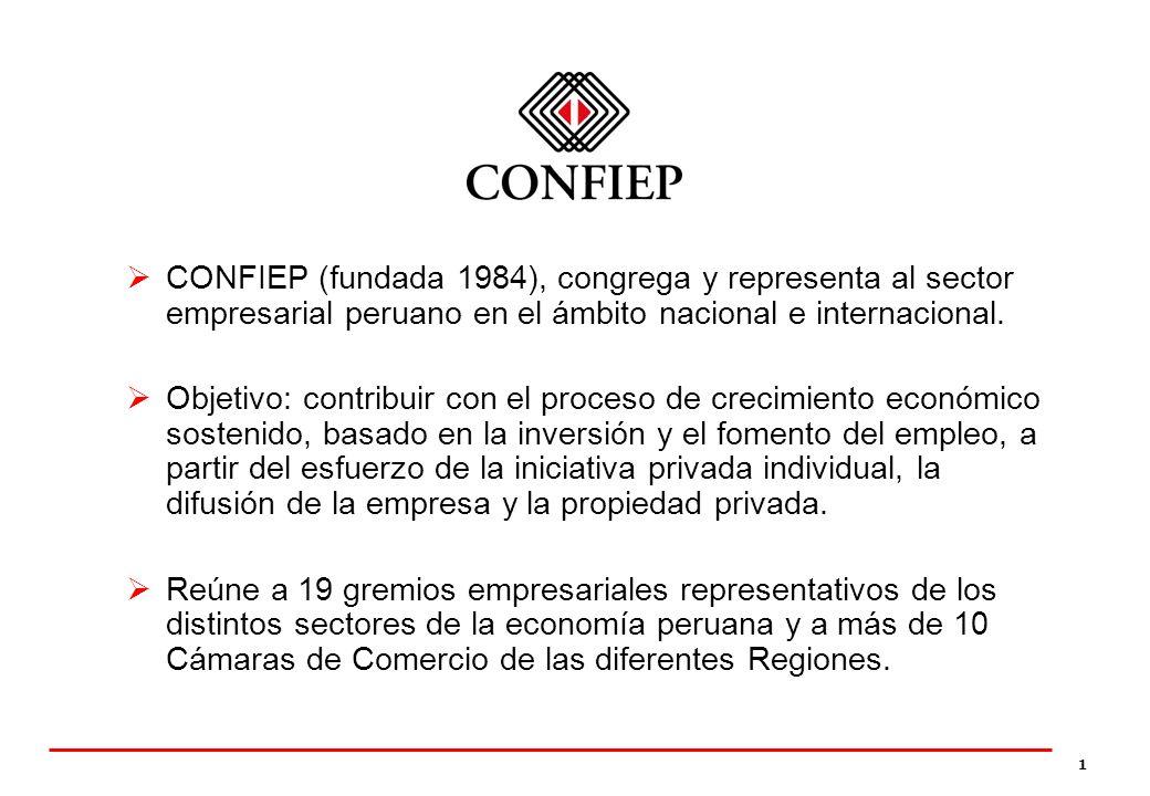 1 CONFIEP (fundada 1984), congrega y representa al sector empresarial peruano en el ámbito nacional e internacional. Objetivo: contribuir con el proce