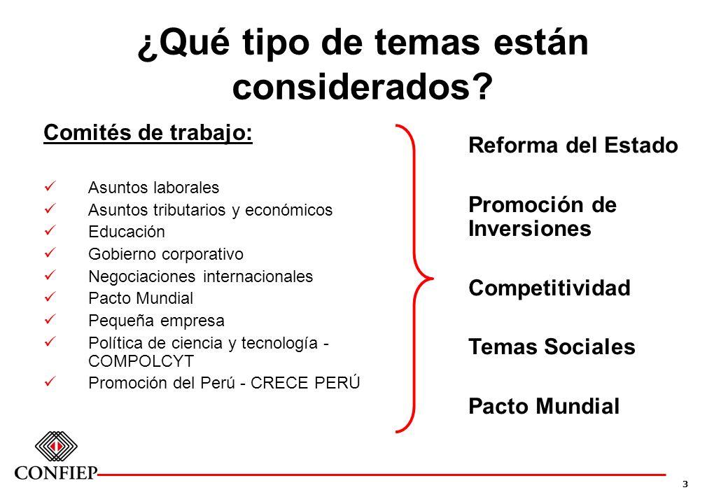 3 ¿Qué tipo de temas están considerados? Comités de trabajo: Asuntos laborales Asuntos tributarios y económicos Educación Gobierno corporativo Negocia