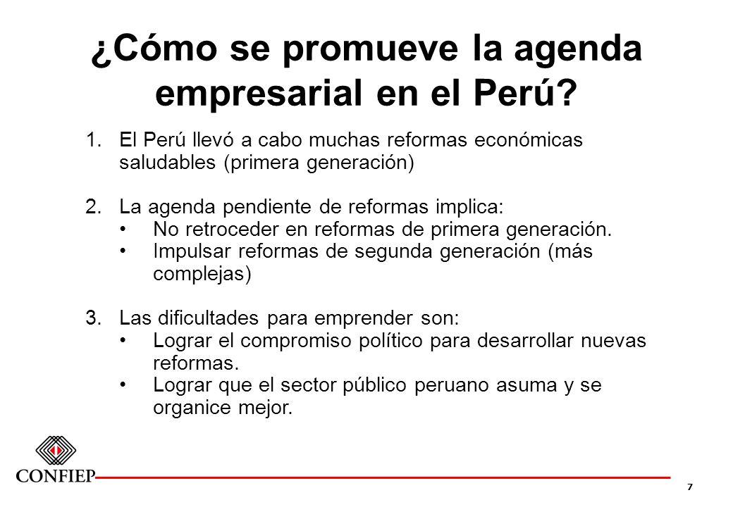 7 ¿Cómo se promueve la agenda empresarial en el Perú? 1.El Perú llevó a cabo muchas reformas económicas saludables (primera generación) 2.La agenda pe
