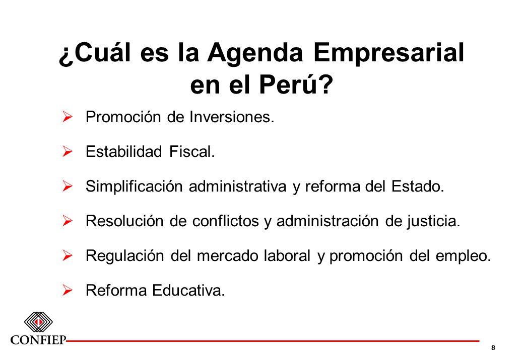 8 ¿Cuál es la Agenda Empresarial en el Perú? Promoción de Inversiones. Estabilidad Fiscal. Simplificación administrativa y reforma del Estado. Resoluc