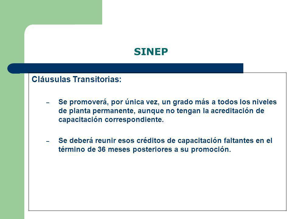 SINEP Cláusulas Transitorias: – Se promoverá, por única vez, un grado más a todos los niveles de planta permanente, aunque no tengan la acreditación d