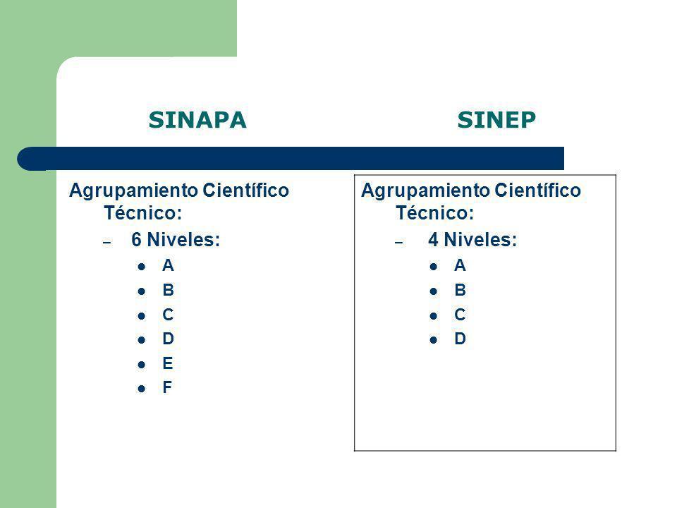 SINAPA SINEP Agrupamiento Especializado: – 2 Niveles: A B Agrupamiento Especializado: 2 Niveles: A B