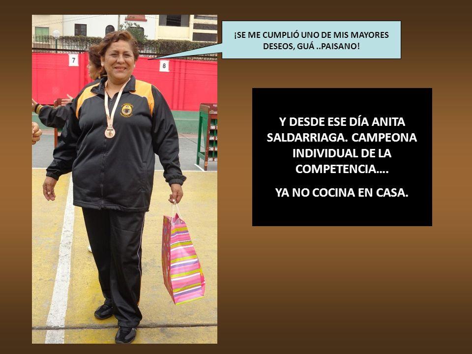 ANITA SALDARRIAGA. CAMPEONA INDIVIDUAL DE LA COMPETENCIA, CON 13,800 PUNTOS. ¡ESTA FOTO LA VOY A ENSEÑAR A MIS PAISANOS DEL BAJO PIURA, GUÁ..!