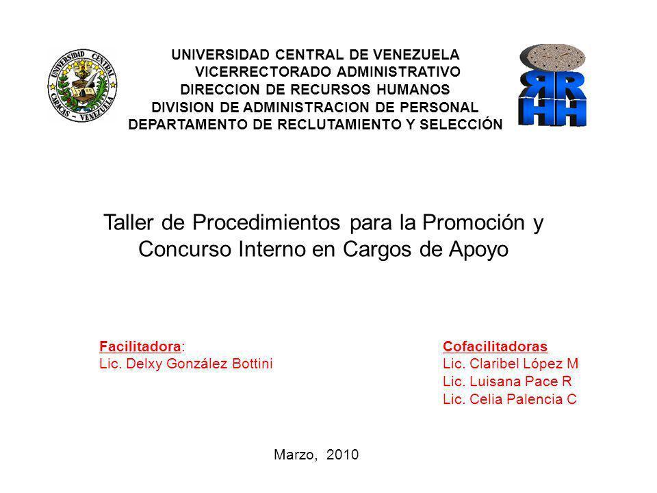 Taller de Procedimientos para la Promoción y Concurso Interno en Cargos de Apoyo Cofacilitadoras Lic. Claribel López M Lic. Luisana Pace R Lic. Celia