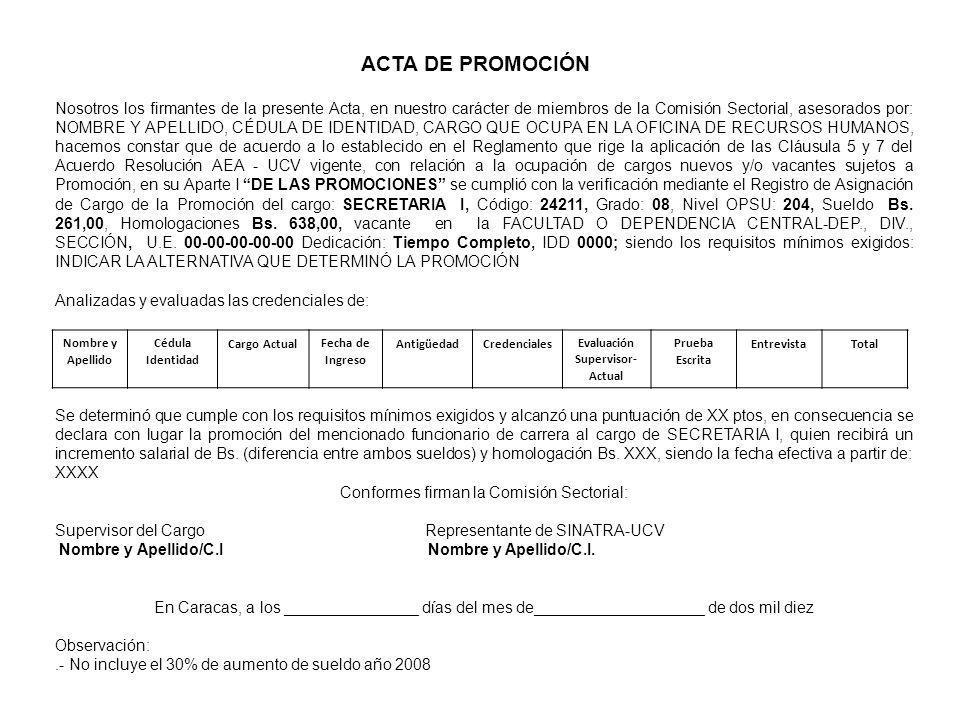ACTA DE PROMOCIÓN Nosotros los firmantes de la presente Acta, en nuestro carácter de miembros de la Comisión Sectorial, asesorados por: NOMBRE Y APELL