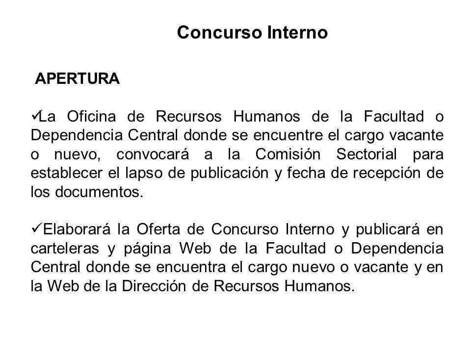 Concurso Interno APERTURA La Oficina de Recursos Humanos de la Facultad o Dependencia Central donde se encuentre el cargo vacante o nuevo, convocará a