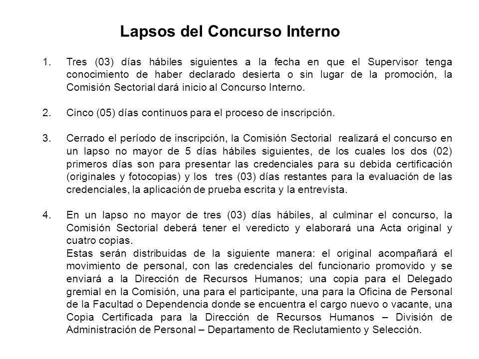 Lapsos del Concurso Interno 1.Tres (03) días hábiles siguientes a la fecha en que el Supervisor tenga conocimiento de haber declarado desierta o sin l