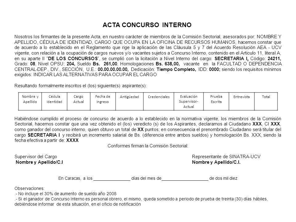 ACTA CONCURSO INTERNO Nosotros los firmantes de la presente Acta, en nuestro carácter de miembros de la Comisión Sectorial, asesorados por: NOMBRE Y A