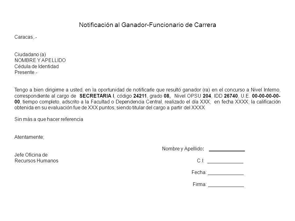 Notificación al Ganador-Funcionario de Carrera Caracas,.- Ciudadano (a) NOMBRE Y APELLIDO Cédula de Identidad Presente.- Tengo a bien dirigirme a uste