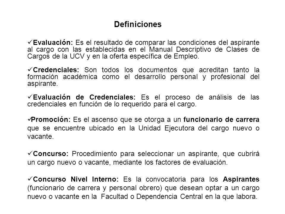 Evaluación: Es el resultado de comparar las condiciones del aspirante al cargo con las establecidas en el Manual Descriptivo de Clases de Cargos de la