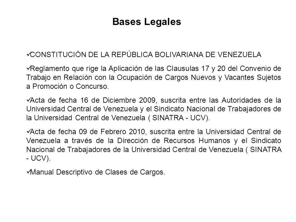 Bases Legales CONSTITUCIÓN DE LA REPÚBLICA BOLIVARIANA DE VENEZUELA Reglamento que rige la Aplicación de las Clausulas 17 y 20 del Convenio de Trabajo