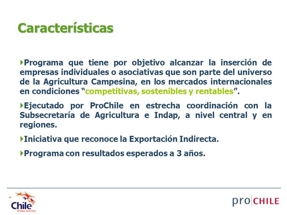 Características Programa que tiene por objetivo alcanzar la inserción de empresas individuales o asociativas que son parte del universo de la Agricult