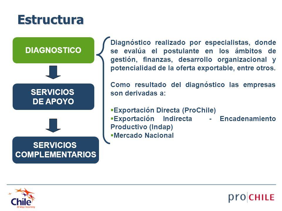 DIAGNOSTICO SERVICIOS DE APOYO SERVICIOS COMPLEMENTARIOS Diagnóstico realizado por especialistas, donde se evalúa el postulante en los ámbitos de gest