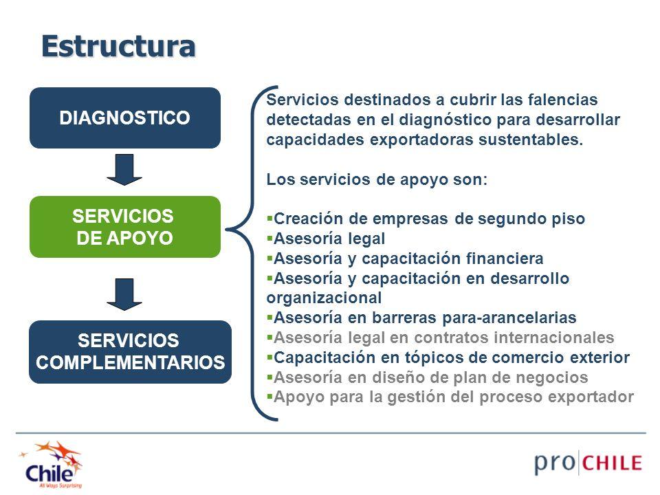 DIAGNOSTICO SERVICIOS DE APOYO SERVICIOS COMPLEMENTARIOS Servicios destinados a cubrir las falencias detectadas en el diagnóstico para desarrollar cap
