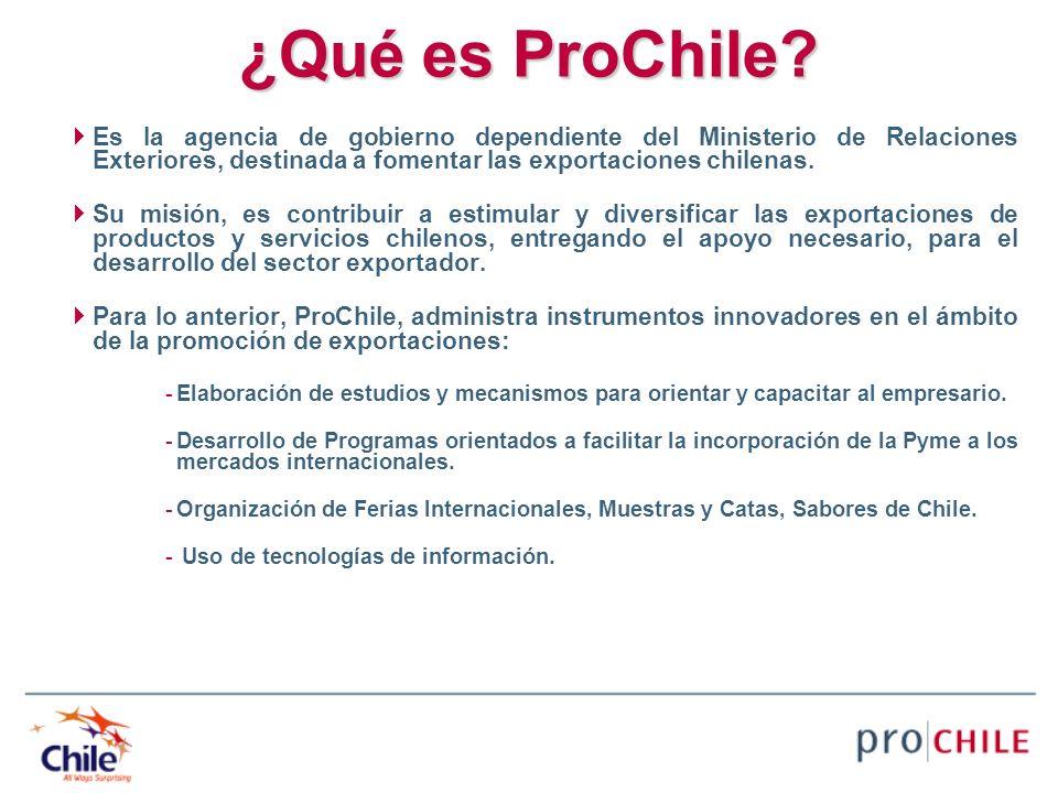 ¿Qué es ProChile? Es la agencia de gobierno dependiente del Ministerio de Relaciones Exteriores, destinada a fomentar las exportaciones chilenas. Su m