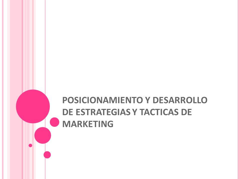 POSICIONAMIENTO Y DESARROLLO DE ESTRATEGIAS Y TACTICAS DE MARKETING